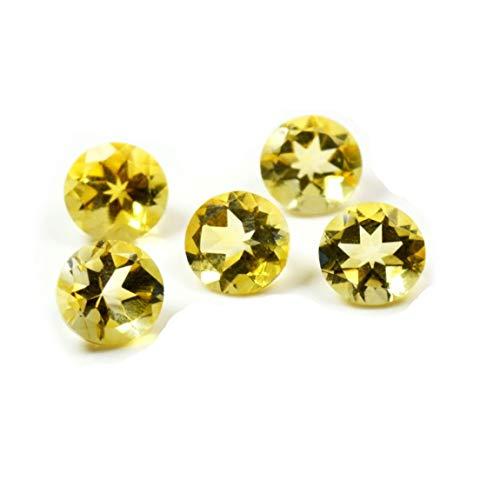 Caratyogi, gemme sfaccettate di citrino da 25 carati, 5 pezzi, lotto di gemme rotonde astrologiche per guarigione all'ingrosso