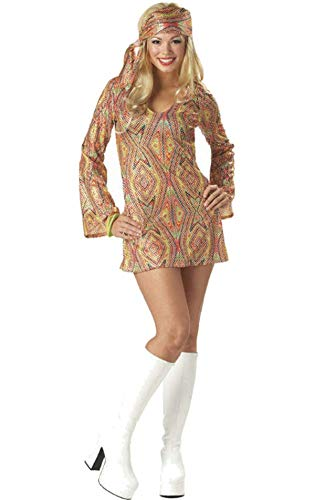 70er Jahre Disko Girl Disco Fasching Kostüm Verkleidung Damen (70er Disco Girl Kostüm)