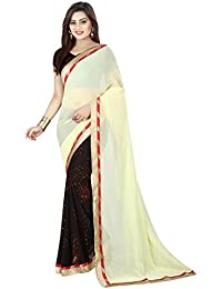 Yellow & Black Georgette Saree ( Women Party Wear Latest Design New Collection Cotton Silk Sarees Offer Designer...