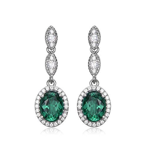 Jewelrypalace Pendientes lujoso largo adornado Nano rusa imitado esmeralda oval en plata de ley 925