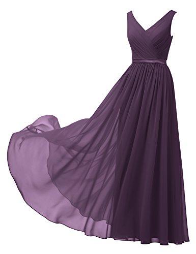 Alicepub A-Linie Chiffon Brautjungfernkleider Abendkleider Lang Ärmellos Ballkleider, Traube, 50