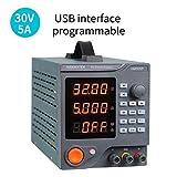 Hanmer HM305P Alimentatore da Banco, Alimentatore Regolato a Commutazione Regolabile da 30 V / 5 A Variabile con Display LED a 4 cifre / 6 Set di Memorie con software per PC e interfaccia USB