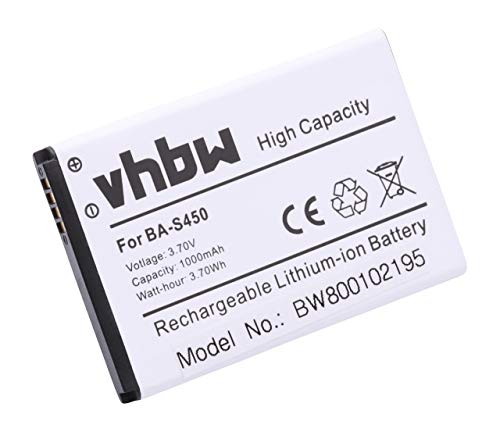 vhbw Li-Ion Akku 1000mAh (3.7V) für Handy Smartphone Telefon HTC Z, A7272, Vision, BB96100, F5151, T-Mobile G2, T8698 Mozart wie BA S450, 35H00140-00M (Htc Handy G2 Tmobile)