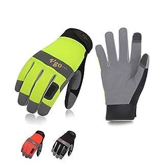 Vgo 3Pares Guantes de Trabajo de Cuero Sintético (Color Negro, Verde y Naranja Fluorescente, Talla 8/M-10/XL, SL7584)