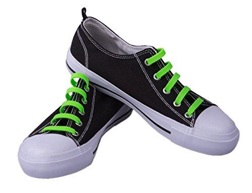 CLEVER Creations silicone Premium No-Tie da uomo lacci per scarpe, confezione da 20pezzi, colore: verde Neon
