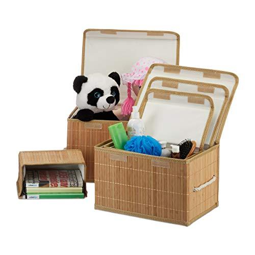 Relaxdays Aufbewahrungskorb 5er Set, mit Deckel + Klettverschluss, Bambuskorb, dekorative Aufbewahrungsbox, naturfarben - Aufbewahrung Dekorative Boxen