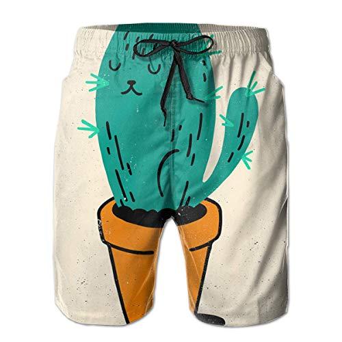 Maillots de Bain pour Hommes Vieux rétro en colère Cactus Cat Casual Sportswear Short à séchage Rapide pour garçons pour l'été
