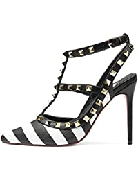 ca335a72d347 Caitlin Pan Women Fashion High Heel Pointed Toe Ankle Straps Studs Stiletto Heeled  Sandals Studded Party Dress…