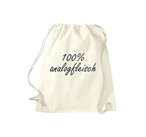 Turnbeutel 100% analogfleisch Fun Spass Humor Hipster Gymsack Kultsack Natur