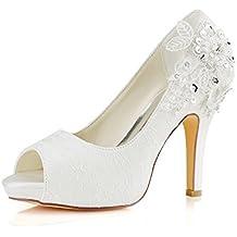 Emily Bridal Scarpe da Sposa Scarpe da Sposa in Pizzo Scarpe da Sposa con  Tacco Alto df54fb7ebc6