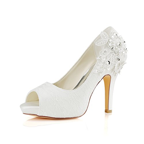 Emily Bridal Brautschuhe Spitze Hochzeitsschuhe Elfenbein Spitze Peep Toe High Heel Brautschuhe (EU35, Elfenbein) -