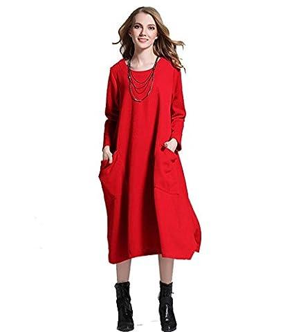 Un solide du robe grand swing XXL Grande rosso