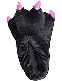 chaussures Chaussons unisex adulte/enfant pantoufles animaux patte noir S(35-40)