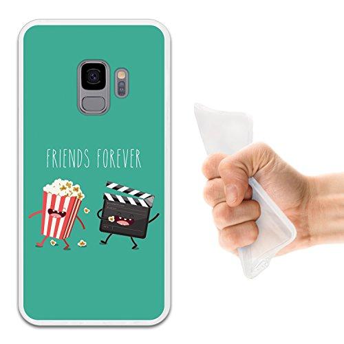 WoowCase Funda Samsung Galaxy S9, [Samsung Galaxy S9 ] Funda Silicona Gel Flexible Friends Forever Palomitas y Cine, Carcasa Case TPU Silicona - Transparente
