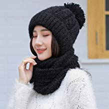 KJNHL l inverno ha la Donna Calda e Antivento con Cappuccio e Sciarpa Nera 409ad7ce492b