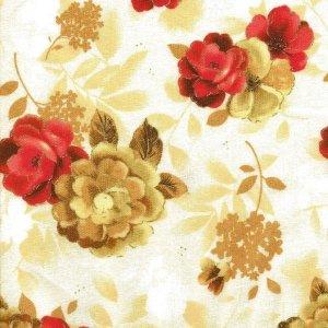 25x112cm Patchworkstoff, rote und beige Blüten auf beigem Hintergrund. Meterware