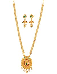 Apara Long Haram Mango Jalebi Necklace Set with Red Kundan and Pearl Beading for Women