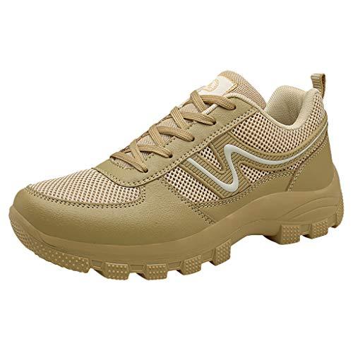 Herren Trekkingschuhe Wanderschuhe Hiking Sneaker Atmungsaktive Sportschuhe Schnürschuhe rutschfeste Wasserdicht Turnschuhe Freizeitkleidung Wanderschuhe für Trainning Running Fitness, Beige, 43 EU