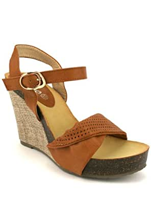 Cendriyon, Sandale Compensée Caramel JILLY Chaussures Femme Taille 41