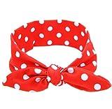 Tonsee Baby hübsch DIY Hasenohren elastische Tuch Bowknot Stirnband (rot)