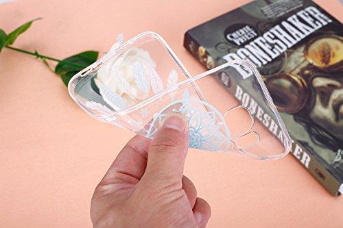 Galalxy S6 Edge Soft Silicone Tpu Coque Mode,Transparent Coque pour Samsung Galalxy S6 Edge,Ekakashop Ultra Mince Jolie éléphant Design Souple imprimée Etui Housse de protection Cristal Clair Gel Case Bleu Campanula