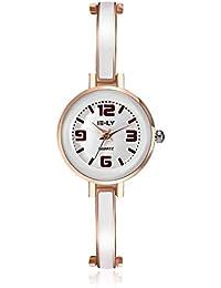 lekima encanto pulsera relojes esfera redonda pequeña anologue Lovely de cuarzo aleación banda reloj de pulsera regalo para las niñas Lady mujeres–oro rosa blanco