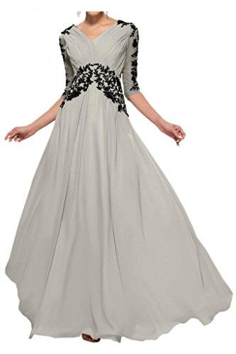 Madre sposa abiti da ballo partito appliqué lungo pizzo Chiffon Toscana elegante sposa tulle abiti da sera Argento