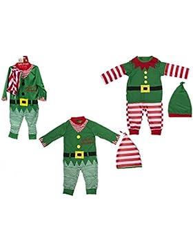 Kleinkind / Baby Weihnachten Elf Outfit. Spielanzug und Hut. 2 Entwürfe (6-9 Monate, roter gestreift)