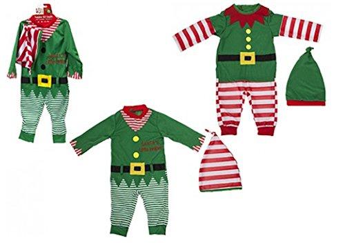 Kleinkind / Baby Weihnachten Elf Outfit. Spielanzug und Hut. 2 Entwürfe (6-9 Monate, grün gestreift)