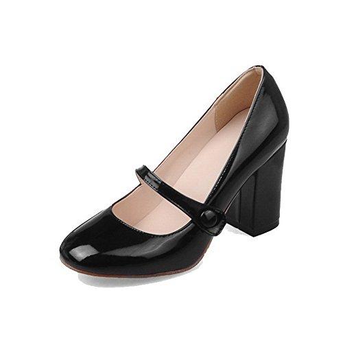 Légeres Haut AgooLar Unie Chaussures à Noir Femme Boucle Verni Carré Talon Couleur vOfOqwX