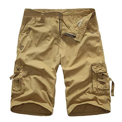 KPILP Mountain Shorts 3/4 Cargo Hose Herren Bermudas Kurz Unterhosen Sonnenbrille Strandhosen Shorts Lightning Edition Sturmfeuerzeug Schwarz(Khika,38)