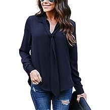 Helury Bluse Damen, Chiffon Elegant Bluse Hemd aus Fließendem Stoff Leicht  Langarmshrit V-Ausschnitt 3170c2c1a5