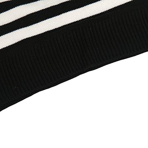 E-GIRL M934 Pull Tricot Femme,S-XL Noir Blanc