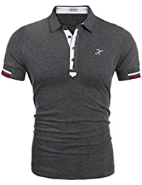 HOTOUCH Homme Polo Shirts Manche Courte Casual T-shirt Coupe Mince Slim Fit Chemise Tee Haut Tops S-XXL