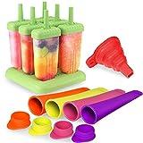 P & E Stieleisformen Eisformen, 6 Stück Eis am Stiel und 4 Stück Eislutscher Formen und 1 Silikon mit Trichter, Quadratische Eisformen aus 100% Lebensmittelsilikagel, Ideal für DIY Selbstgemachtes Eis für Kinder und Erwachsene