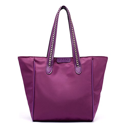 lkklily-fashion Fashion Handtasche Schultertasche Hand Woven Nylon Wasserdicht von Großer Kapazität violett