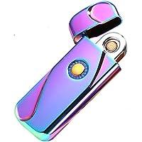 Sunwbak - Encendedor de alambre de tungsteno con huella dactilar, USB, recargable, electrónico, aleación de zinc, iluminación clásica para cigarrillos, resistente al viento, sin llama, encendedor de cigarrillos, Colorful
