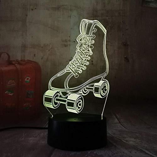 Geschenk Nachtlicht 3D Tischlampe Illusion,Roller Skates 7 Farben ändern Berühren Schalter Schreibtisch Dekoration Lampen Geburtstag Weihnachtsgeschenk (Tasten Roller Skate)