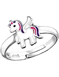 SL de Silver Chica Mujer Anillo Pequeño Unicornio tamaño ajustable 925plata de ley en del paquete de regalo