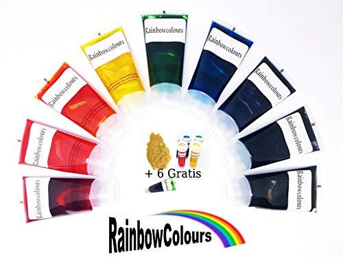 Farben Set Lebensmittelfarbe Mix 9 x 26ml flüssig + 6 x 12ml Gratis 2.Wahl (Lebensmittelfarbe Set)