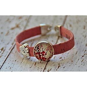 Armband aus Kork Vegan Jasminblüte Blume rosa Glas