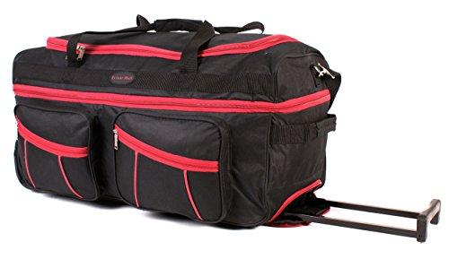 Ks-ex-100 68,6 cm Noir Rouge Extensible Grande Taille Sac à roulettes Sac de Voyage