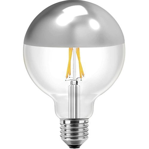 Blulaxa LED Filament Vintage Kopfspiegellampe Globelampe 12,5cm, 8W, 180°, E27, warmweiß, Glas, klar mit silbernem Spiegelkopf EEK: A+