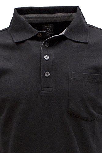 KITARO Basic Interlock Langarm Polo-Shirt in 2 Farben - bis 8XL Black
