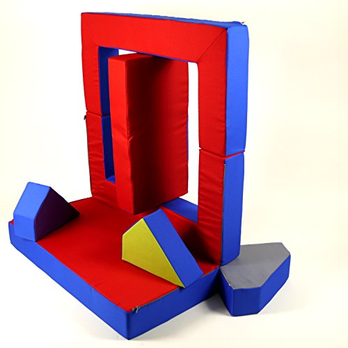 Spielsofa 4in1 Kindersofa Spielmatraze für das Kinderzimmer Spielpolster Softsofa blau/rot Puzzle Kinderzimmersofa Spieltisch Kindermöbel - 4