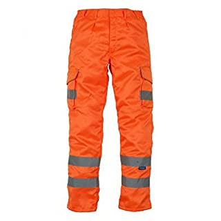 absab ltd Yoko Men's Hi-Vis Polycotton Cargo Trousers with Knee Pad Pockets New (30L, Orange)