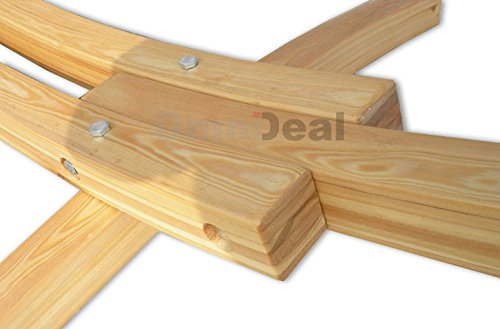 AMANKA Hängemattengestell 310x120cm Holzgestell bis 200kg mit XXL Hängematte in Braun | Komplettset Gestell Stabhängematte Metall-Befestigung -