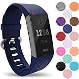 Yousave Accessories® Fitbit Charge 3 Armband, Silikon Ersatzarmband für Fitbit Charge3 Fitness Tracker, Sport Schrittzähler Armband, Fitbit Charge 3 Armbänder - Klein - Marineblau