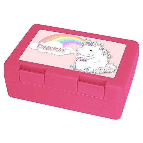 Brotdose-mit-Namen-Patricia-und-schnem-Motiv-Einhorn-mit-Donut-und-Regenbogen-fr-Mdchen-Brotbox-rosa-Vesperdose-Vesperbox-Brotzeitdose-mit-Vornamen