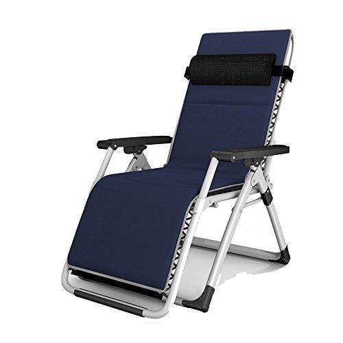 YANFEI Chaise longue pliante siesta siesta lit bureau chaise pliante chaise chaise chaise de plage (Couleur : Bleu foncé)